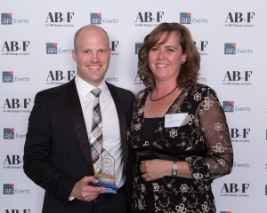 Club Marine CEO Simon McLean and Club Marine Head of Brand & Direct Karen Te Maipi accept the Innovation of the Year Award at the 2016 Australian Insurance Awards.