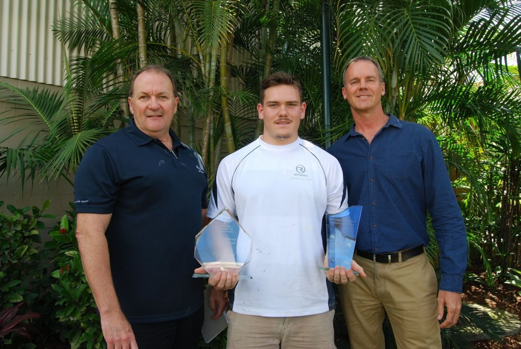 South East Queensland's School Based Apprentice of the Year – Dominic Perry (middle) pictured with Riviera's Chief Executive Officer Wesley Moxey (left) and Riviera Chairman and Owner Rodney Longhurst (right).