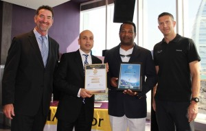 3.	John Hogan(Superior) with Roger Hanna, Liyanage Kithsiri (Marina Manager) & Desmond Cawley from Jumeirah Beach Hotel, Dubai